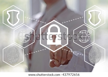 Businesswoman pressing cyber security button on virtual screens. Electronic business security.  - stock photo