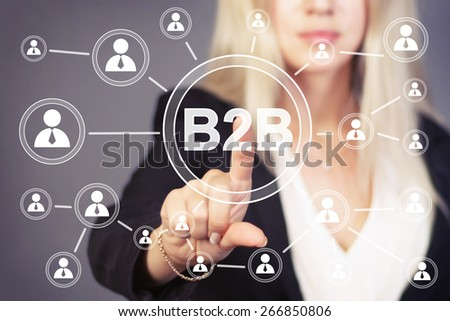 Businesswoman pressing sign button b2b icon web - stock photo