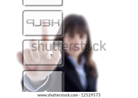 businesswoman pressing the Help button isolated in white background - stock photo