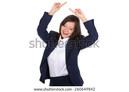 Businesswoman punching the air full of joy isolated on white background, expressing success
