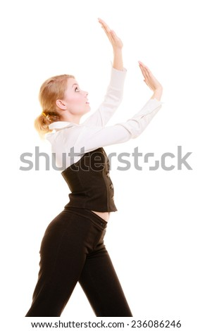 Businesswoman pushing away blank copy space