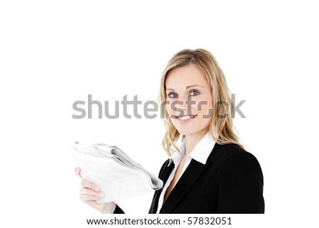 Businesswoman reading newspaper against white background