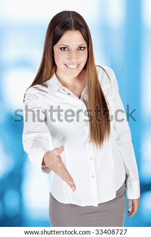 Businesswoman ready for deal. - stock photo
