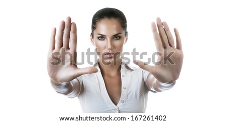 businesswoman says stop on white background - stock photo