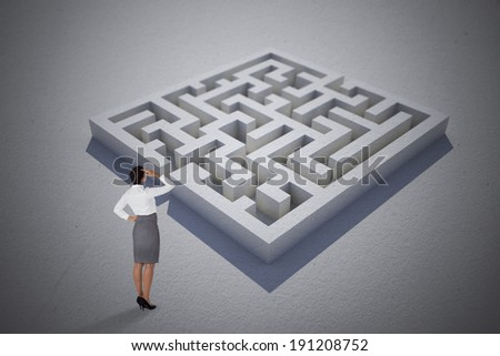 Businesswoman scratching her head against maze puzzle - stock photo