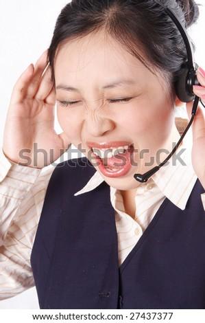 Businesswoman screaming in big stress. - stock photo