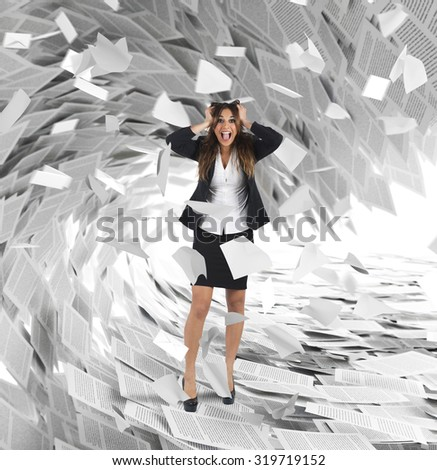 Businesswoman screams with a wave of sheets - stock photo