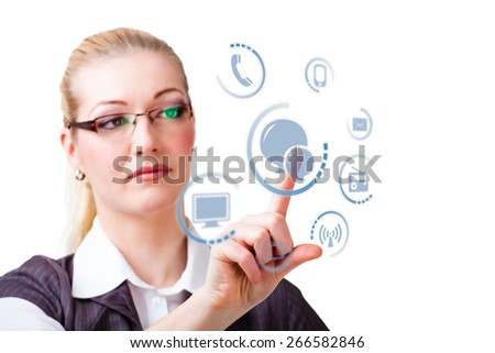 businesswoman selecting chat as communication option - stock photo