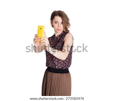 Businesswoman selfie - stock photo