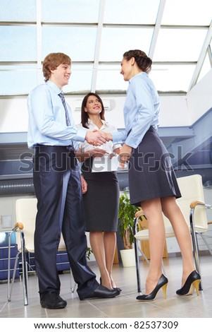 Businesswoman shaking hands with businessman after making final decision - stock photo