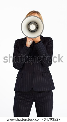 Businesswoman shouting through a megaphone hiding her face