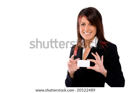 businesswoman showing a card - stock photo