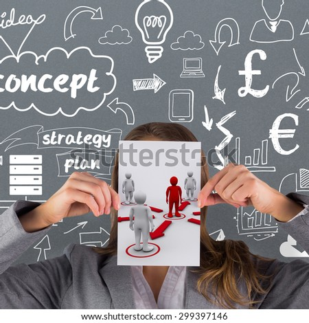 Businesswoman showing a card against red 3dman requesting connection with surrounding white 3d-men - stock photo