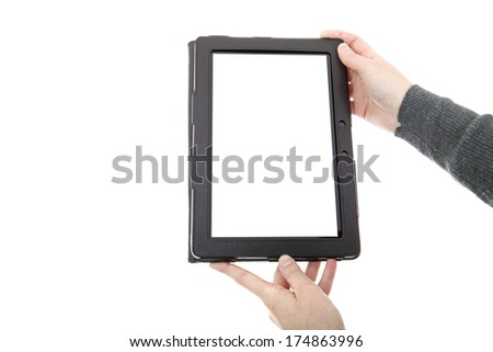 businesswoman showing a tablet pc, isolated - stock photo