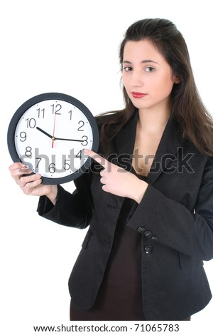 Businesswoman showing at you time over white - stock photo