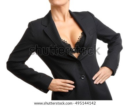 Businesswoman showing business card on white