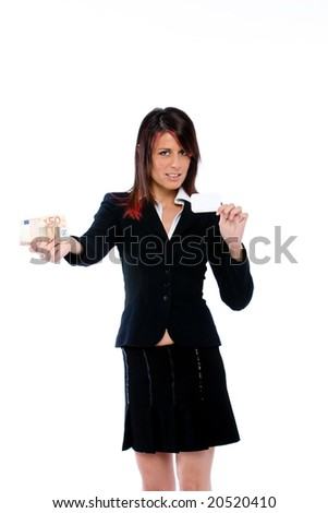 businesswoman showing card and money - stock photo