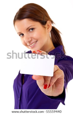 businesswoman showing her business card - isolated over a white background - stock photo