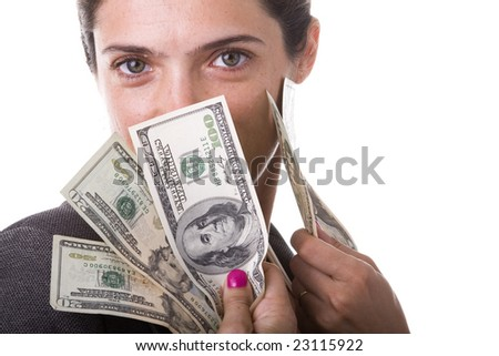 businesswoman showing her money from a jackpot - stock photo