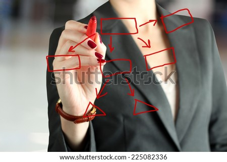 Businesswoman  showing something on  a virtual  graph by  a  red pen  - stock photo