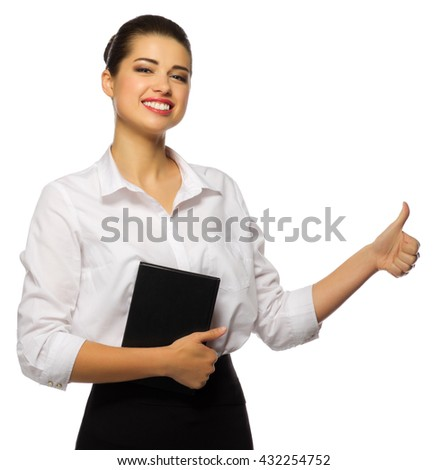 Businesswoman shows ok gesture isolated - stock photo