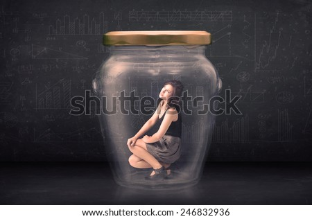 Businesswoman shut inside a glass jar concept concept on background - stock photo