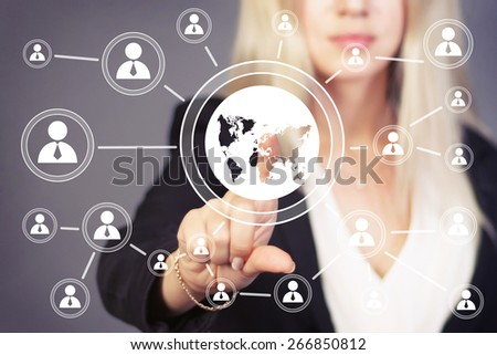 Businesswoman sign touch button interface map communication