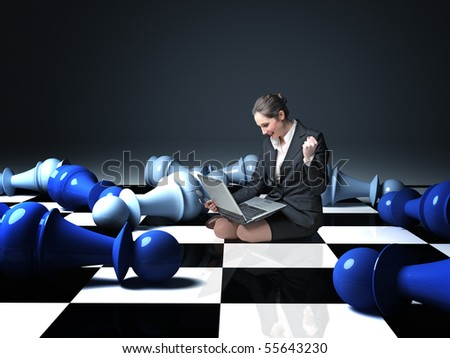 businesswoman sit on chess board win  a game - stock photo