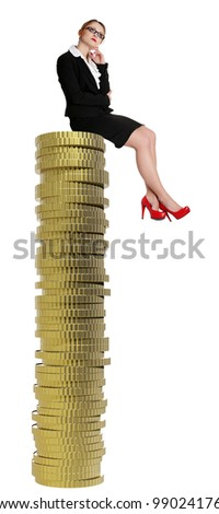 Businesswoman sitting on gold coin currency. Isolated on white - stock photo