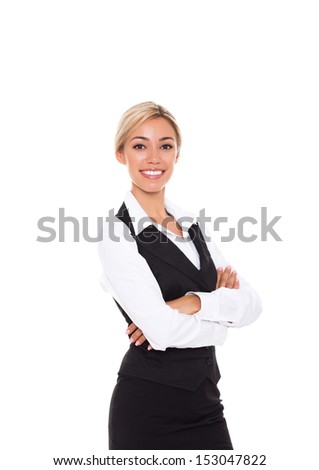 Businesswoman smile, folded hands, young attractive business woman. Isolated over white background - stock photo