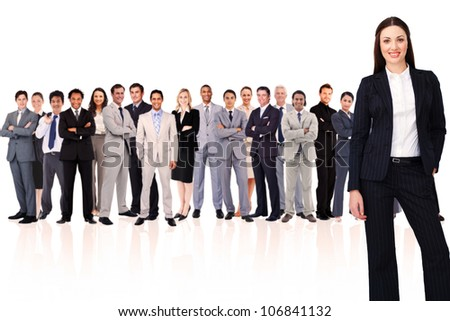 Businesswoman smiling against white background - stock photo