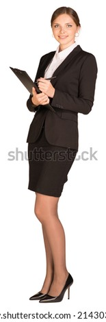 Businesswoman stand holding paper holder - stock photo
