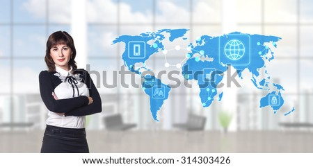 businesswoman standing in modern office and looking to global business map. Elements of this image furnished by NASA - stock photo