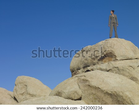 Businesswoman Standing on a Boulder - stock photo