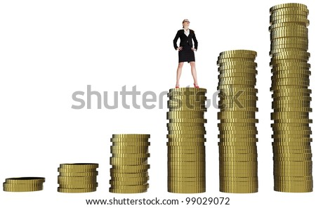 Businesswoman standing on gold coin currency. Isolated on white - stock photo