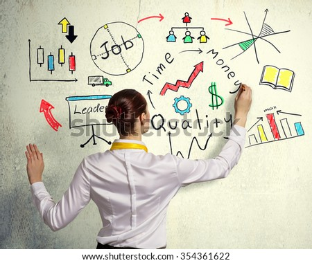 Businesswoman standing with back drawing business ideas on wall
