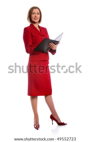 Businesswoman standing with folder and pen isolated over white background - stock photo