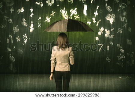 Businesswoman standing with umbrella and 3d numbers raining concept on background - stock photo
