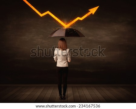 Businesswoman standing with umbrella keeping orange arrow concept on background - stock photo