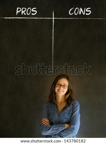 Businesswoman, student or teacher thinking pros and cons decision list chalk concept blackboard background - stock photo