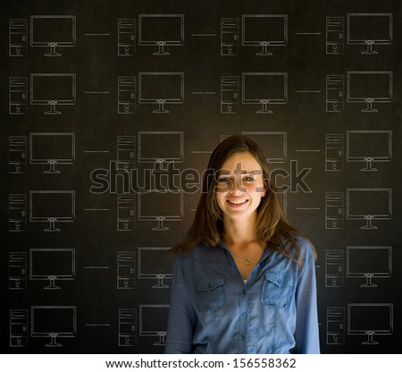Businesswoman, student or teacher with chalk networks on blackboard background - stock photo