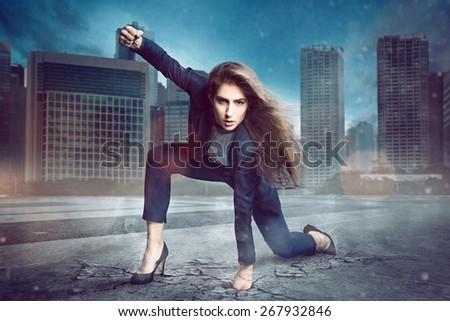 Businesswoman Superhero - stock photo