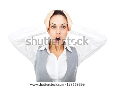 Businesswoman surprised scared, terrified hold hand on head, mouth open, young business woman concept of worried, shock, fear, isolated over white background - stock photo