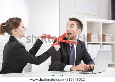 Businesswoman Takes Big Pair of Red Scissors Snip - stock photo