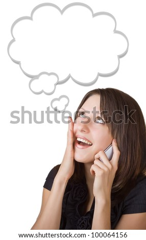 Businesswoman talking on her cell phone, isolated on white background. Speech bubble at the top of the photo for your text