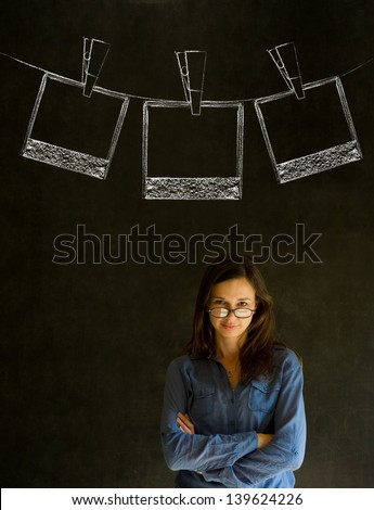 Businesswoman, teacher or student with chalk polaroid style photographs on clothes line blackboard background - stock photo