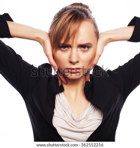 Businesswoman terrified hold hand on head - stock photo