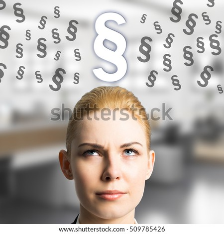 businesswoman thinking about a paragraph