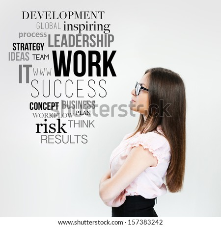 businesswoman thinking and plan business strategy - stock photo