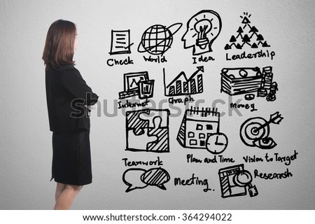 Businesswoman  thinking  at business concept  success chart graph on wall background - stock photo